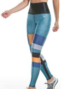 Leggings de fitness c/ efeito ganga, padrão reversível preto - BOTTOM SENSITIVE