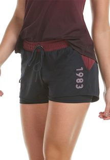 Black sports shorts with red belt - BOTTOM SKIN