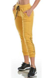 Calças desportivas 7/8 amarelas c/ bolsos - BOTTOM SPORT FLEECE