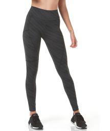 Dark green striped print fitness leggings - BOTTOM SPORT RECORTES