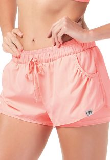 Pale pink fitness shorts with pockets - BOTTOM TIRAS CRUZADAS