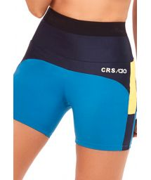 Blue and black short fitness leggings with yellow insert - BOTTOM TRES CORES