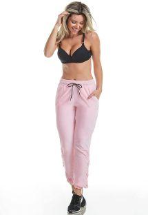 Calças desportivas em rosa-claro - CALCA PLUSH BE HAPPY