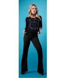 Black textured, flared sport pants - CATIVE FLAIR