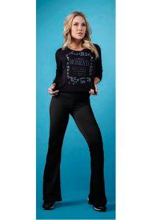 Geniş paçave dokulu siyah sport pantolonu - CATIVE FLAIR