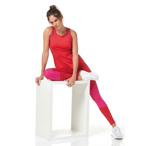 b3c9542ae Leggings Deportivo Bicolores Rojo/rosa - Legging Recortes - Alto Giro