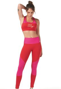 Two-tone red/pink fitness leggings - LEGGING RECORTES