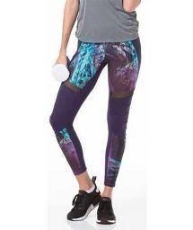 Printed and transparent purple fitness leggings - LIGHT ESTAMPADA