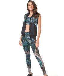 Fitness leggings tropical green/grey print - RECORTE EM TELA