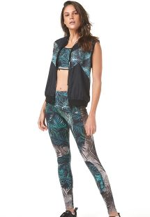 Fitness leggings tropical green/grey print - RECORTE EM TELA