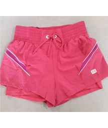 Pink women's shorts with elasticated waist - SHORT ELASTIC RECORTE ROSA