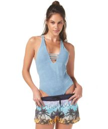 Fitness shorts - tropical and navy print - SHORT SPIN CARUARU