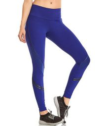 Dark blue long fitness leggings - BOTTOM BLAZE