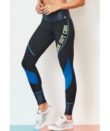 Two-material blue fitness leggings - BOTTOM BLUES