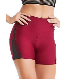 Burgundy short leggings with grey details - BOTTOM BORDO