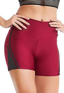 Leggings  corto Bordeaux con dettagli grigi - BOTTOM BORDO