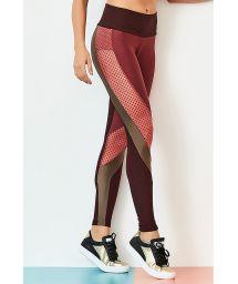 Two material burgundy/khaki sport leggings - BOTTOM CUTE