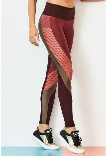 Leggings sportivi bi-materiale Bordeaux/kaki - BOTTOM CUTE