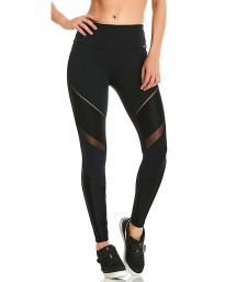 Two-material fitness leggings with transparencies - BOTTOM NZ NATURE