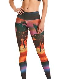 Fitness leggings in tropical print - BOTTOM PRINT ESTAMPADO