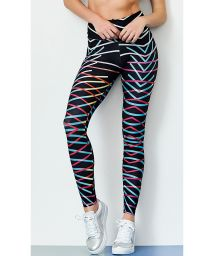 Geometric printed black sport leggings - BOTTOM ROCK