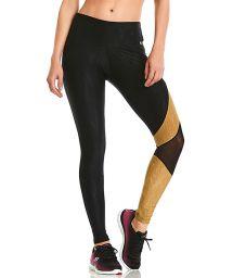 Black fitness leggings in geometric print - BOTTOM ROCK ASYMETRIC