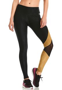 Black fitness leggings in geometric print - BOTTOM ROCK ASYMETRIC