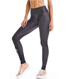 Charcoal gray striped sport leggings - BOTTOM ROCK FASHION