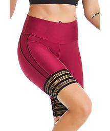 Burgundy & black fitness shorts - BOTTOM ROCK MAGIA