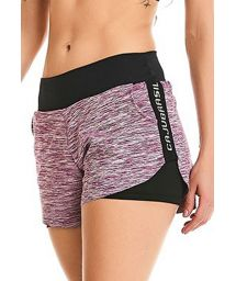 Burgundy melange and black fitness shorts - BOTTOM ROCK MOTION