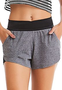 Grey fitness shorts with black waistband - BOTTOM SEA