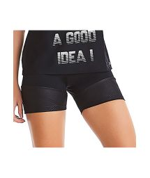 Two material zippered black sports shorts - BOTTOM SUMMER