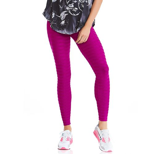 Textured Fitness Leggings: Textures Fitness Leggings In Fuchsia