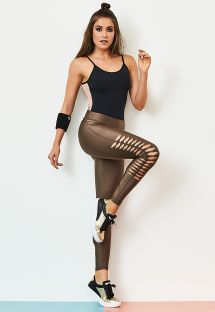 Cutout effect chestnut fitness leggings - LEGGING EFFECT