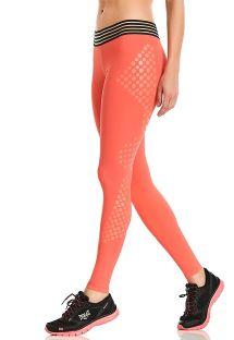 Oranje getextureerde fitnesslegging - LEGGING HIT