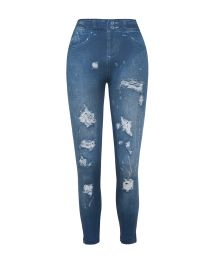 Workout leggins in a worn jeans print - LEGGING JEANS FASHION