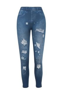 Fitness-leggings med iturevne detaljer og denimfarvet materiale - LEGGING JEANS FASHION