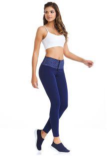 Legging fitness bleu zippé ceinture imprimée - TRAINING