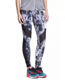 Bi-fabric feather print fitness leggings - FUSEAU GENESSEE