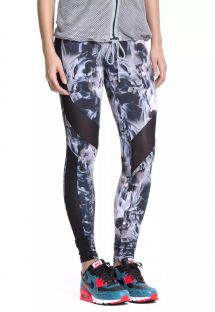 Bi-fabric feather print fitness leggings - FUSEAU GENESSEE