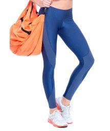 Iridescent blue dual-fabric on-trend leggings - FUSEAU GUAPA