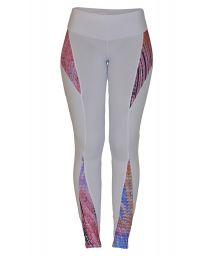 White leggings with multicoloured print inserts - FUSEAU LAUREANO