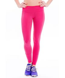 Pink dual material fitness leggings, openwork bands - FUSEAU MALECON