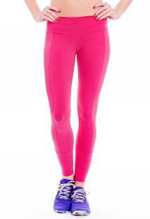 Calzas deportivas de dos materiales color rosa, franjasperforadas - FUSEAU MALECON