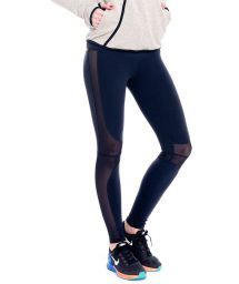 Black fitness leggings with perforated mesh panels - FUSEAU MANTELEIRA