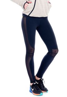 Legging de fitness negro con franjas transpirables - FUSEAU MANTELEIRA