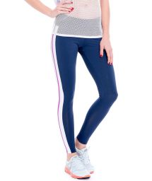 Navy blue leggings with white and pink stripes - FUSEAU MARINADE