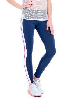 Спортен клин в тъмно синьо, с бели и розови ленти - FUSEAU MARINADE