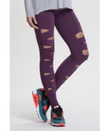 Purple fitness leggings with cutouts - FUSEAU ZEBRA CABERNET