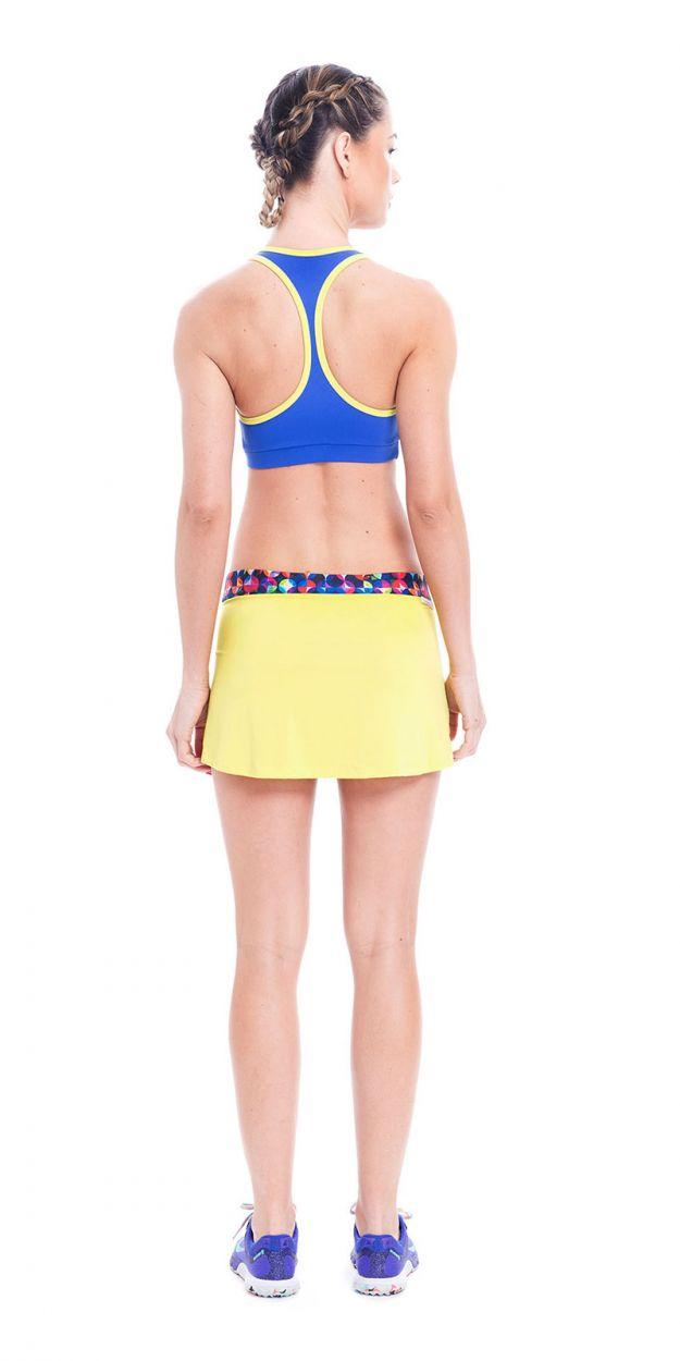Gul skort - kjol med integrerade shorts - SAIA OJAS RASPA
